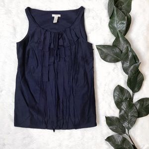 J. Crew Loulie Sleeveless Ruffle Blue Blouse